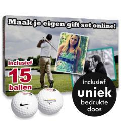 15 Golfballen Giftset incl. uniek bedrukte doos